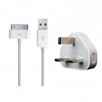 Apple Iphone / Ipod UK Plug & USB Data Sync & Charger Cable
